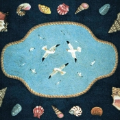 Flying Seagulls Handmade Rug