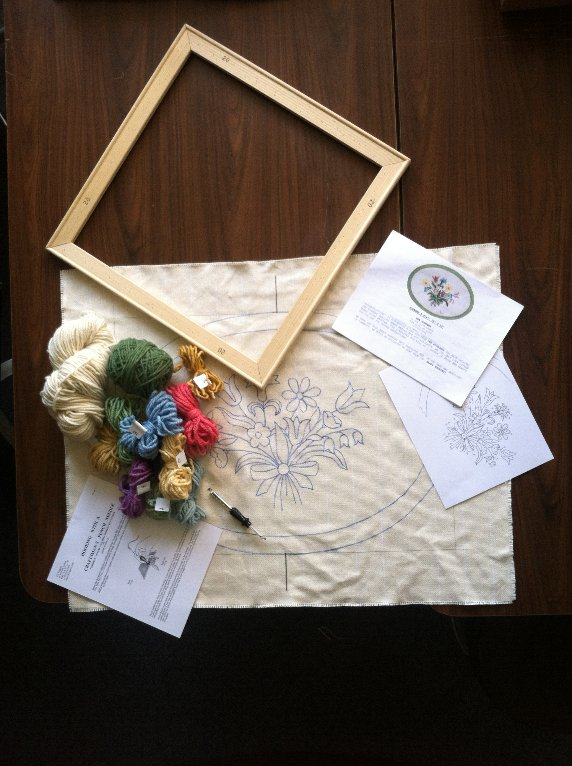 Beginner Kit Package 99 95 Includes Nose Printed On Monks Cloth Yarns To Complete Rug Craftsman Punch Needle Stretcher Bars 26 X 32