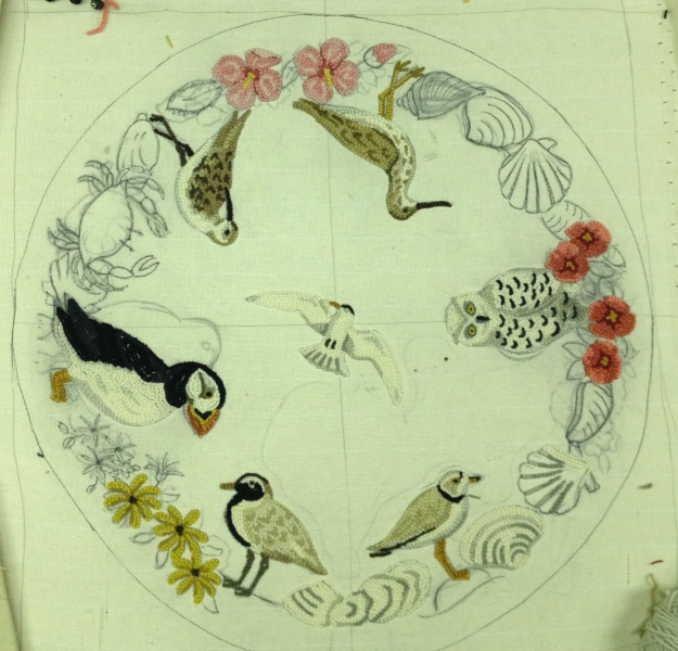 This Is The Start Of A 3 Foot Round Custom Sea Bird Rug