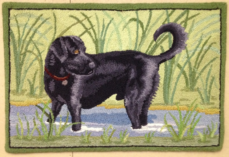 Black lab portrait rug finished